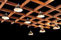 Lampen, houten structuur-zwarte Royalty-vrije Stock Foto