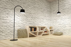 Lampen met boekenkast op houten vloer en bakstenen muur Royalty-vrije Stock Foto
