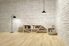 Lampen met boekenkast op houten vloer en bakstenen muur Stock Foto's