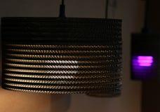 Lampen mit warmem Licht und Veilchen Stockfotos