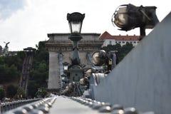 Lampen op de brug Stock Fotografie