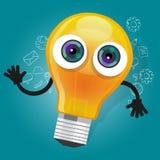 Lampenbirnenlicht-Zeichentrickfilm-Figur-Maskottchengesichts-Vektorillustration Stockfotos