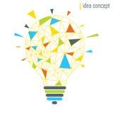 Lampenideen-Konzeptgelb Stockfotografie
