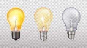 Lampes à incandescence de vecteur, ampoules électriques illustration de vecteur