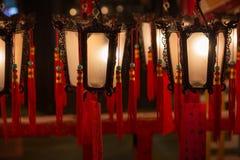 Lampes à l'homme Mo Temple en Hong Kong Images libres de droits