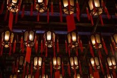 Lampes à l'homme Mo Temple en Hong Kong Image libre de droits