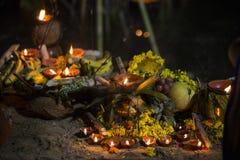 Lampes à pétrole au puja de chhat Photos libres de droits
