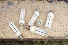 Lampes électriques utilisées image libre de droits