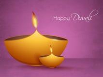 Lampes allumées lumineuses pour la célébration heureuse de Diwali Photographie stock libre de droits