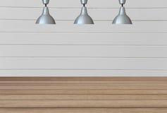 Lampes argentées sur le plafond et un contexte sur un wal en bois blanc Image libre de droits