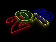 Lampes au néon de la nouvelle année 2015 Photographie stock
