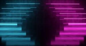 Lampes au néon formées Arow de la science fiction futuriste pourpre et bleue sur Wal Photos stock