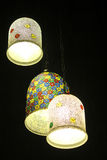 Lampes colorées de plafond Photo stock