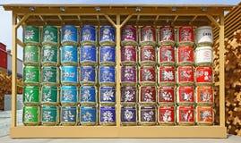 Lampes colorées multi hors de pavillon japonais dans l'expo 2015, Milan Photos stock