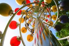 Lampes colorées sur un Pôle métallique Image libre de droits