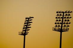 Lampes dans le coucher du soleil Photo libre de droits