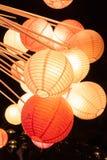 Lampes de papier de beauté la nuit Images libres de droits