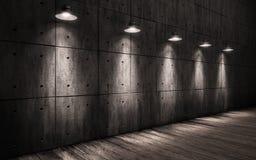 Lampes de plafond lumineuses par fond grunge industriel Images stock