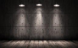 Lampes de plafond lumineuses par fond industriel grunge Images stock