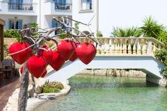 Lampes en forme de coeur rouges Photographie stock libre de droits