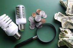 Lampes et argent différents Photo stock