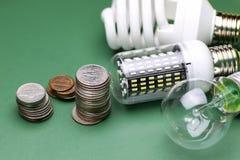 Lampes et argent différents Photos stock