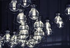 Lampes modernes de LED dans des abats-jour en métal Photographie stock