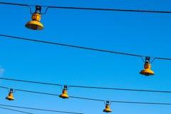Lampes régulières et jaunes images libres de droits