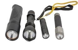 Lampes-torches menées sur le blanc Photos libres de droits