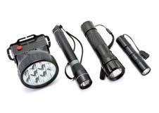 Lampes-torches noires d'isolement sur le fond blanc. Photographie stock