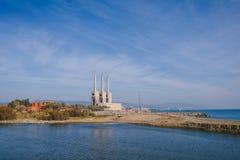 Lampglas tre av den gamla termiska kraftverket, Barcelona Royaltyfria Bilder