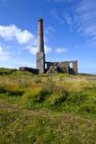 Lampglaset återstår på Levant Tin bryter i Cornwall Arkivfoto
