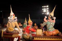 Lamphun,泰国- 3月19 : 泰国传统礼服。 演员每 免版税库存照片