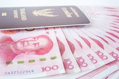 Lamphun, Thailand - December 20, 2015 Yuansbankbiljetten van China Stock Foto