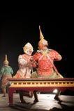 Lamphun THAILAND - mars 19: Thailändsk traditionell klänning. skådespelarear per Arkivfoton