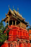 Lamphun, Thailand: Repository Library at Thai Temple Stock Photo