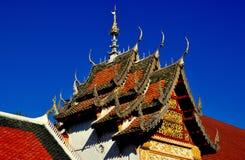 Lamphun, Thailand: Ubosot Hall at Thai Temple Stock Photo