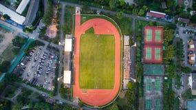 LAMPHUN, VAN THAILAND 30,2017 JULI: De Sportstadion van de Arialmening bij lamphu Stock Fotografie