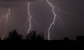 Lampi e temporale di notte Fotografia Stock