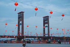 Lampion and Ampera Bridge. At Palembang city south Sumatra Indonesia stock images