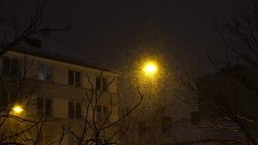 Lampion błyszczy przy nocą podczas opad śniegu zbiory