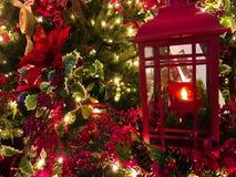 Lampion, boże narodzenie ornament z Greenery zdjęcia royalty free