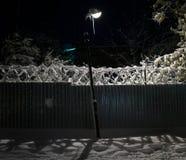 Lampion na ulicie śnieżysty miasto Styczeń 33c krajobrazu Rosji zima ural temperatury zdjęcia royalty free