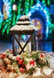 Lampion przy Śnieżnym boże narodzenie rynkiem w Vilnius Lithuania Zdjęcie Stock