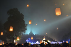 Lampion releasing ceremony. Lampion releasing as final chapter of Holy Waisak ceremonial day in Borobudur temple at 15th may, 2014 at magelang, east java stock photography