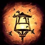 Lampion w orientała stylu na pomarańczowym tle ilustracja wektor