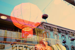 Lampion in window, Chinatown in San Francisco. Window at Chinatown in San Francisco Royalty Free Stock Image