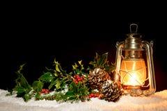 Lampion z holly i bluszczem fotografia stock