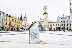 Lampion z inskrypcją, SNP kwadrat w Banska Bystrica, Slovaki Fotografia Stock