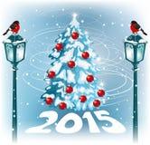 Lampione d'annata di Natale sui precedenti del paesaggio di sera Immagine Stock